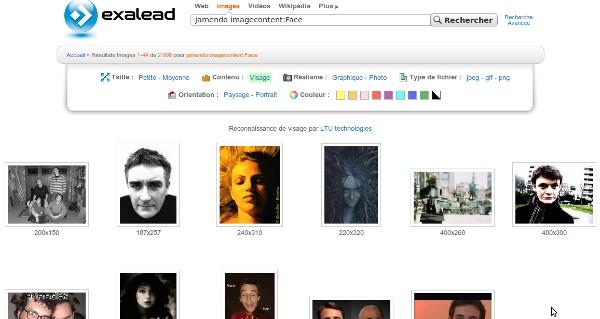 Recherche d'images Jamendo avec filtre de visages