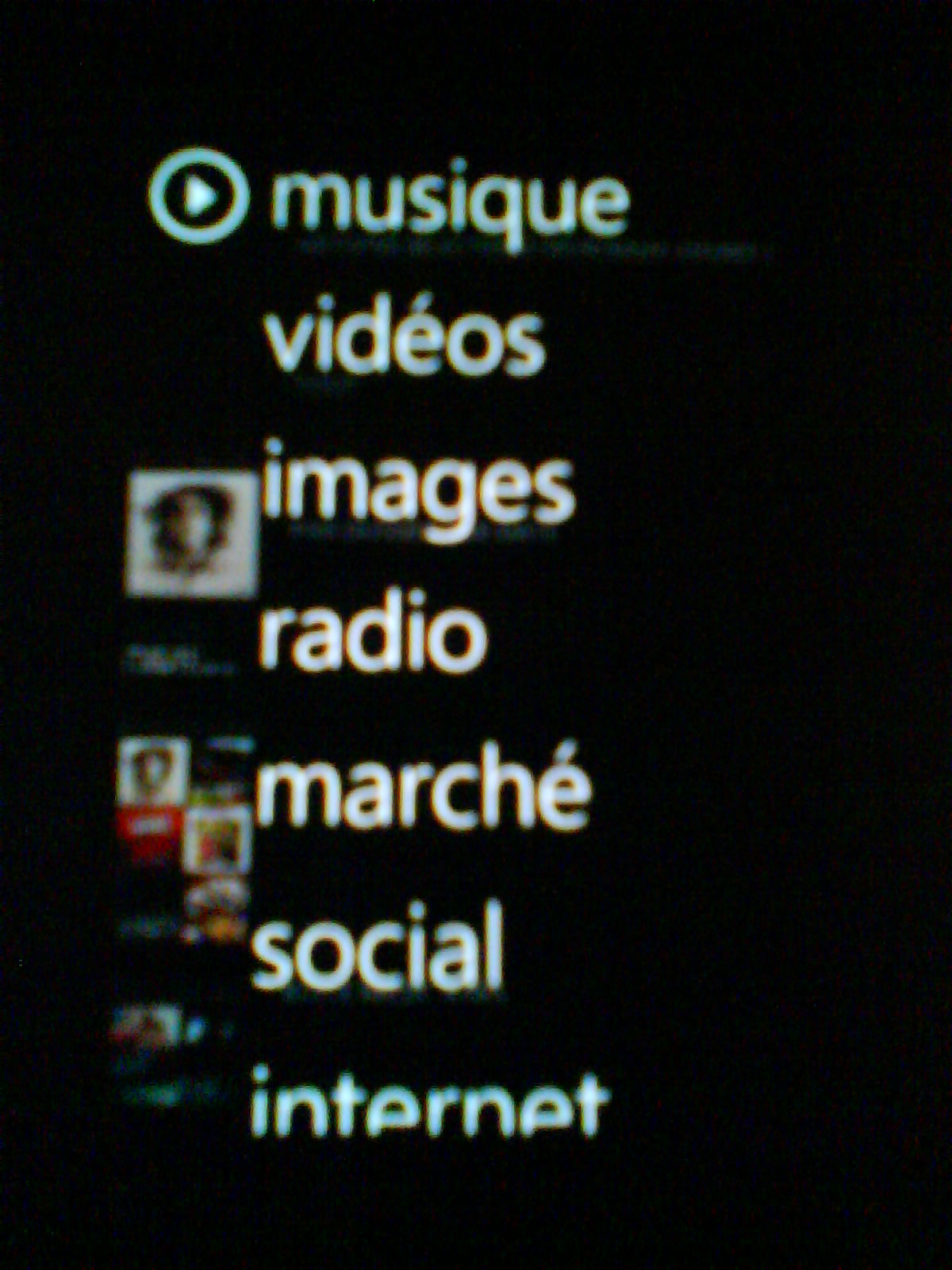 Menu microsoft zune hd